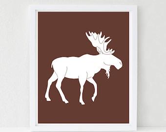 Moose Nursery Art, Woodland Nursery, Kids Wall Art, Baby Shower Decor, Forest Friends, Choose Your Custom Color