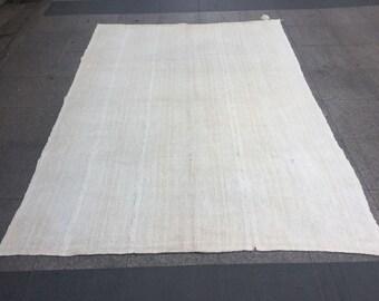 Organic Hemp rugs 8' ft x 5'7'' ft antique hemp rug,bohemian rug,vintage rug,anatolian hemp vintage rug,turkish hemp kilim,Hemp Rug