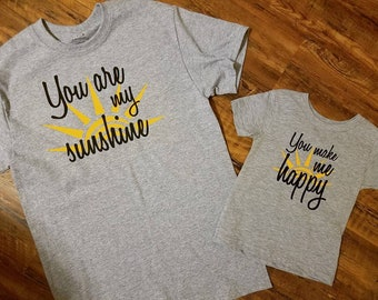 Mommy and Me - Matching Shirts - Family Shirts - You are my sunshine - you make me happy - Family matching shirts - matching shirts