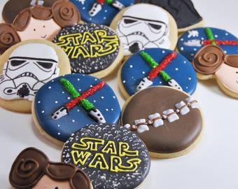 Star Wars Cookies -  sugar cookies - Storm Trooper -  Logo - Princess Leia - Darth Vader - Chewbacca - light sabers - star wars party favors