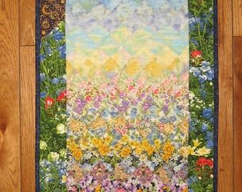 "Art Quilt, Bright Sunshine Summer Garden Fabric Quilted Wallhanging Sun Moon Kids Room Decor 46x17"" 100% cotton fabric"