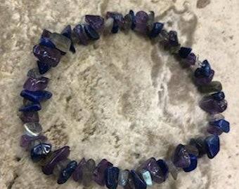 Amethyst, labradorite , Sodalite Gemstone Bracelet