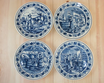 GOEDEWAAGEN cheese making Delft Blue Wall plates Traditionel Dutch Cheese making
