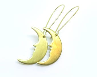 Small Crescent Moon Raw Brass Kidney Wire Earrings