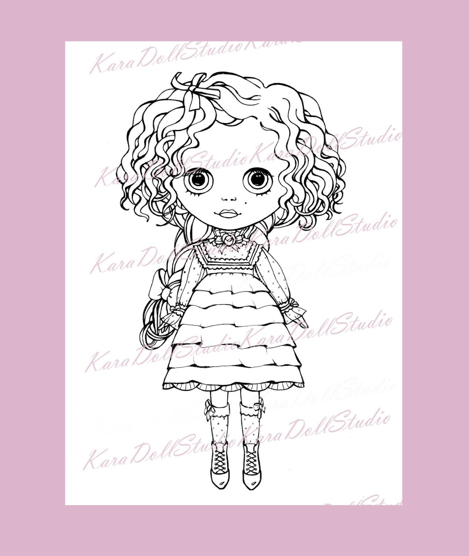 Pintado Blythe Dolls para colorear Digital Collage hoja infantil ...