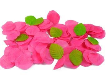 Set of 100 petals color Fuchsia fabric 4.5 cm