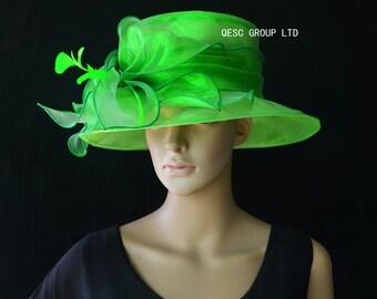 Green Ladies Hat organza hat Kentucky derby.