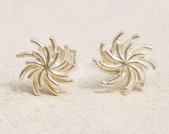Silver Sun Stud Earrings, Silver flower stud earrings, Unique stud earrings, Sterling Silver stud earrings, Everyday earrings, Birthday gift
