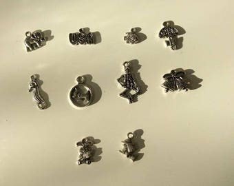 set of 10 silver charm, dog, Bell, umbrella, witch, Bunny, elephant...