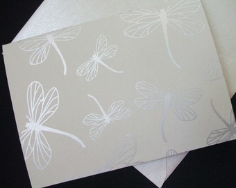 4 Bar Blank Note Cards  - Dragon Flies- Set of 10