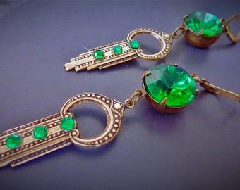 Art deco, Art nouveau emerald green earrings