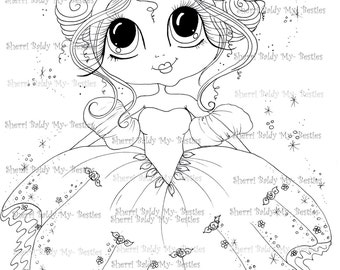INSTANT DOWNLOAD Digital Digi Stamps Big Eye Big Head Dolls Bestie New Bestie Scann009 Fairy Princess My Besties By Sherri Baldy
