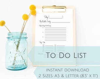 INSTANT DOWNLOAD Productivity Planner, To Do List, Daily Planner, US Letter + A5 Sizes, Work Planner, Goal Planner Page, Printable Planner