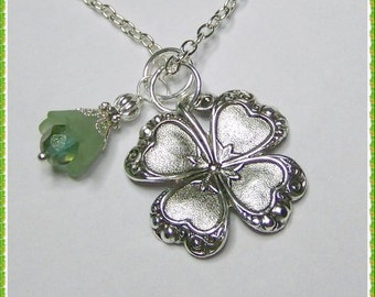 Silver CLOVER Necklace, Lucky Charm, Irish jewelry, four leaf clover, LUCKY SHAMROCK pendant