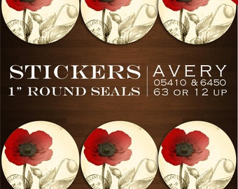 Poppy Sticker Labels Template - Printable DIY Envelope Seals  - Vintage Poppy Botanical Design Stickers Avery Labels Stickers Envelope Seals