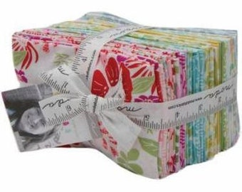 1 Bungalow Fat Eighths Bundle by Kate Spain designs for Moda fabrics, modern blue green yellow pink purple 40 - 2 1/2 inch strips 27290F8