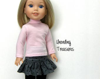 14 inch doll clothes made to fit like wellie wishers doll clothes pink turtleneck top and gray with black dots ruffle skirt