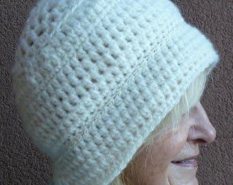 White winter hat for women, versatile style hat, women's winter fashions, original white winter hat, unique crochet hat, Bohemian accessory