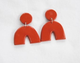 Rust Orange Arch Earring