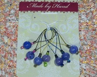 7 stricken Stich Zeile Marker natürliche Wirbel lila blau Varigated Perle Haken frei für Strickgarn
