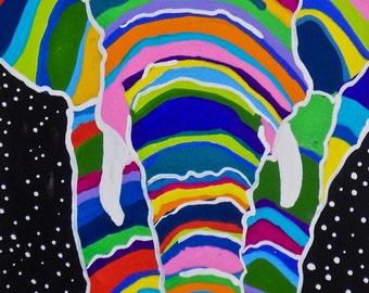 Multicolor Elephant Gouache Painting, Colorful Elephant Gouache Painting, African Elephant Gouache Painting