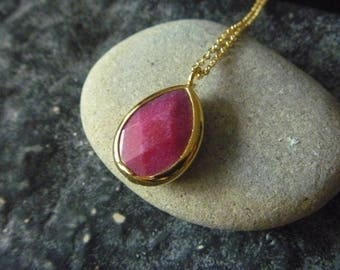 Pink Purple jade drop necklace