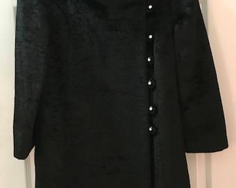 50s Black Velvet Faux Fur I Magnin Coat