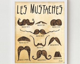 "Mustache Art Print, Mustaches Poster ""Les Mustaches"" Moustache Styles Illustration Wall Decor, Moustache Illustration Art Print"