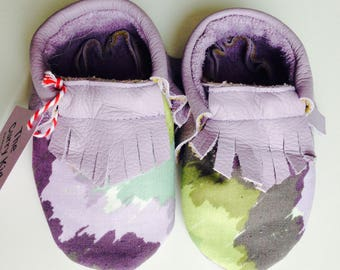 Handmade genuine leather moccasins in lavender with coordinating fabric overlay