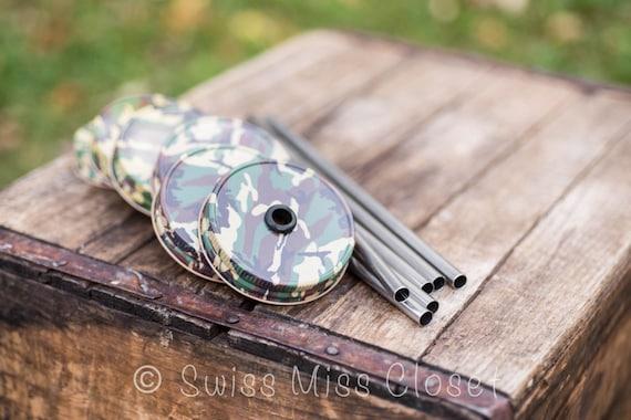 Set of 6 Camo Mason Jar Lids And Stainless Steel Straws Tumbler DIY Weddings, Parties, Everyday Use
