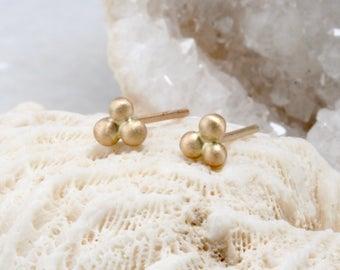 gold dot earrings, simple petite 14k gold stud earrings, three dot studs, gold nugget post earring, Rachel Wilder Handmade Jewelry
