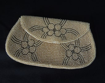 Vintage Faux Pearl Clutch with Flower Design