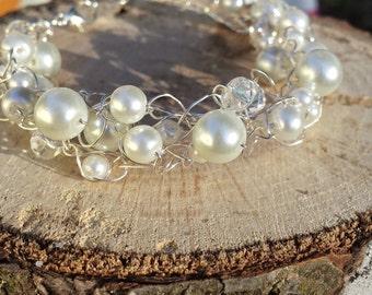 Pearl Crocheted Wire Bracelet