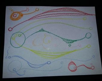 Freehand crayola crayon art piece