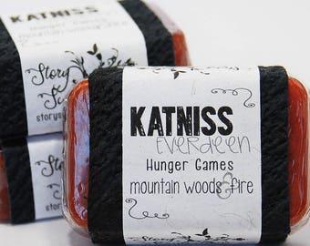 Katniss Everdeen Hunger Games Glycerin Soap Bar - Handmade Custom Book Character Scent - Fire Fragrance, Girl on Fire, Suzanne Collins