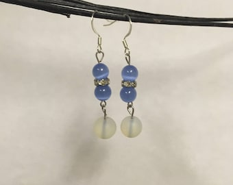 Blue Catseye and Frosted Glass Earrings
