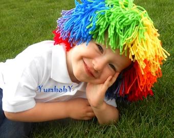 Clown Wig Child Halloween Costume Red Yellow Blue Orange Green Purple Rainbow Hat
