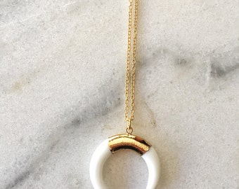 14K Gold White Horn Double Horn Necklace Gold Filled Chain