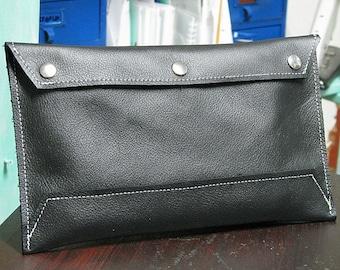 Black Leather Envelope Document Holder Clutch - Purse