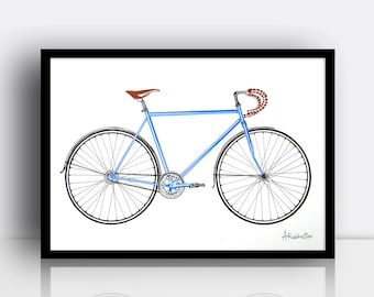 Road bike screen print (3 colour, A3 sized, limited edition)