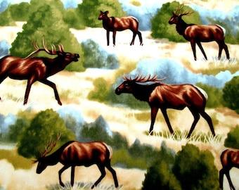 Wildlife Elk Moose Caribou Cotton Fabric #114