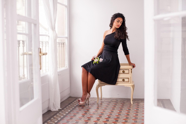 Kurze schwarze Kleid Party-Kleid schwarz Cabrio Kleid lange