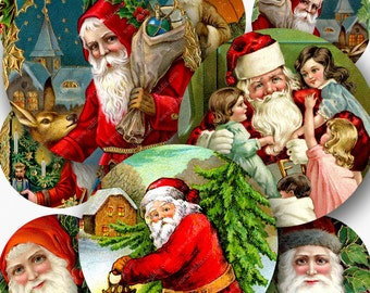 Printable Vintage Christmas Santas in 1.25-inch Circles, Santa Claus Holiday Instant Download -- piddix digital collage sheet no. 134