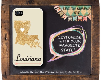 Louisiana iPhone Case, Personalized State Love iPhone Case, Fits iPhone 4, iPhone 5, iPhone 5s, iPhone 5c, iPhone 6, NOT REAL GLITTER