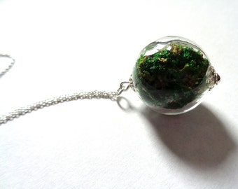 925 sterling silver pendant glass globe necklace with real green moss glass orb necklace