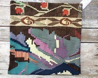 "Vintage Turkish Kilim Pillow Cover Brown Blues with Lavendar Purple Accents 24"" x 24"""