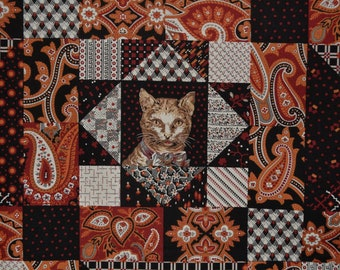 Windham Fabric novelty Paisley and Cat faux quilt cheater quilt country quilt Mary Koval Cat in the Manor orange black quilt fabric