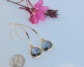 Dangle Earrings, Gray Earrings, Long Earrings, Gray Drop Earrings, Gold Dangle Earrings, Gray Charcoal earring, Mothers Day Gift