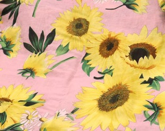 Sunflower fabric by 1/2 yard linen fabric with big floral print linen cotton blend fabric soft cotton fabric Quilt/ Craft/ Decor
