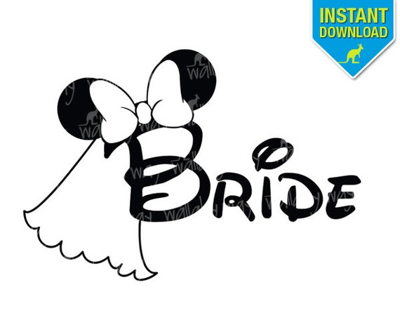 disney wedding bride minnie ears printable iron on transfer or rh etsy com disney wedding clipart free Rustic Wedding Borders Clip Art